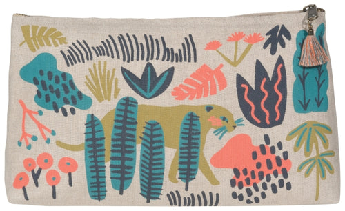 Large cosmetic bag with jungle design