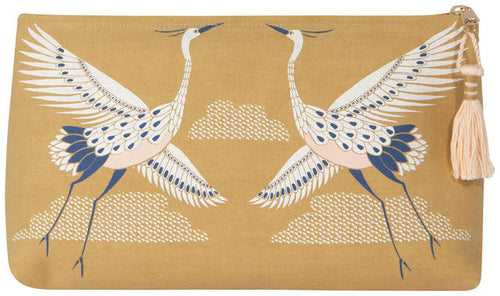 mustard yellow cosmetic bag with Storks