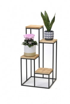 Black Metal and Wood 4 Tier Plant Stand