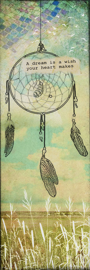 A Dream Is a Wish Art Block - dream catcher, feathers, bohemian