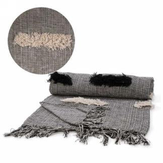 Grey Fringe Throw - Home Decor