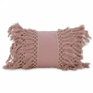 Terracotta Fringe Boho Bolster Pillow