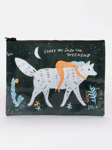 Carry Me Into The Weekend Zipper Pouch - Blue Q - Great Gifts