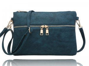 Teal Clutch purse with zipper detail