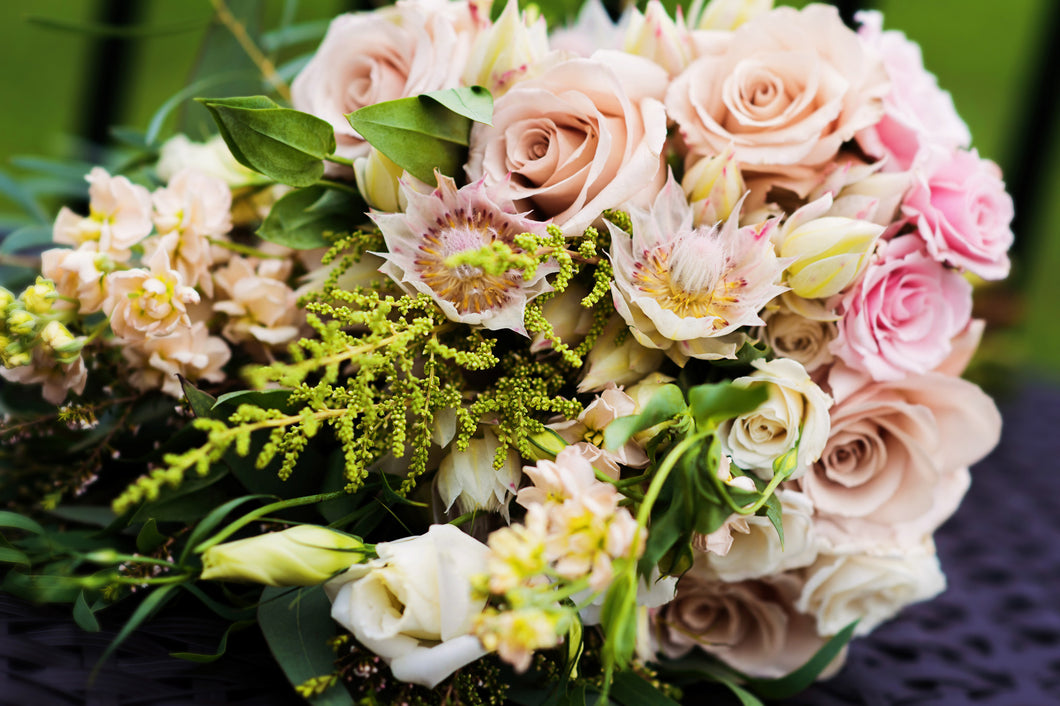 Rustic Chic Wedding Bouquet Blushing Bride Protea