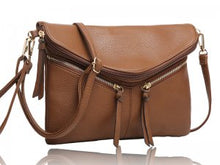 Mocha Zipper Detail Crossbody Purse