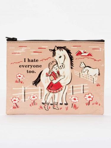 I Hate Everyone Too Zipper Pouch - Blue Q - Great Gifts