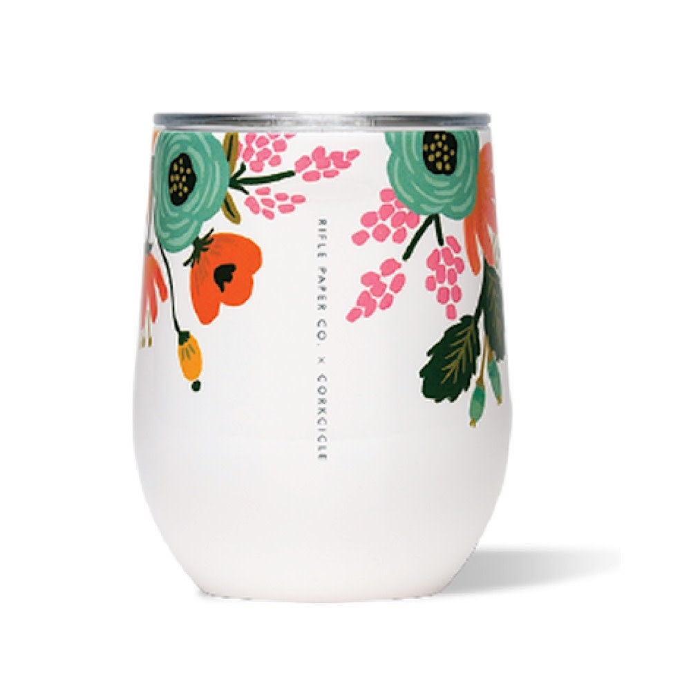 Corkcicle Stemless Wine White Floral