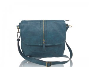 Teal Purse with flap and zipper detail