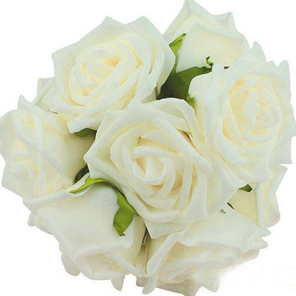10 Heads Artificial Rose Flowers 11 Colors Wedding Bride Bouquet PE Foam DIY-NicheCategory