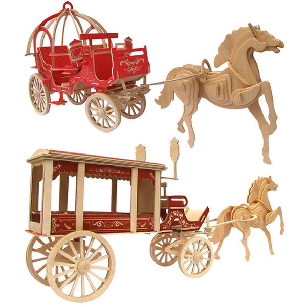 3D Puzzle Wooden DIY Creative Toy Horse Carriage Craft Decor-NicheCategory