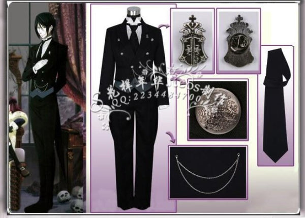Black Butler 2 Kuroshitsuji Sebastian Cosplay Coat-NicheCategory