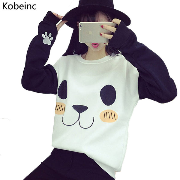 College Women Hoodies Cartoon Panda Sweatshirts Casual Tracksuits-NicheCategory