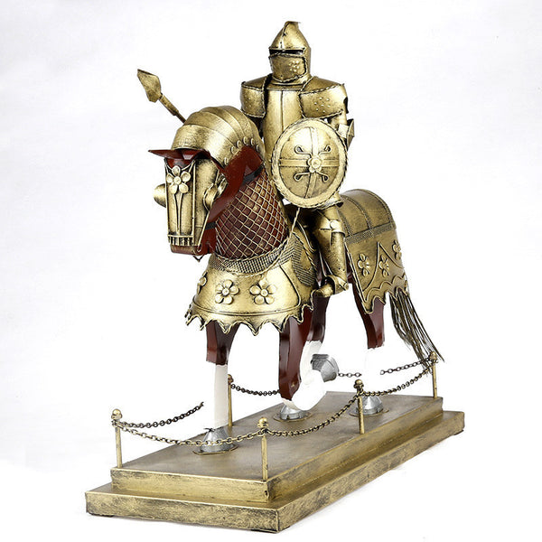 Creative Retro Style Armor Knight on Horse Model Samurai Iron Home/Bar Decor-NicheCategory