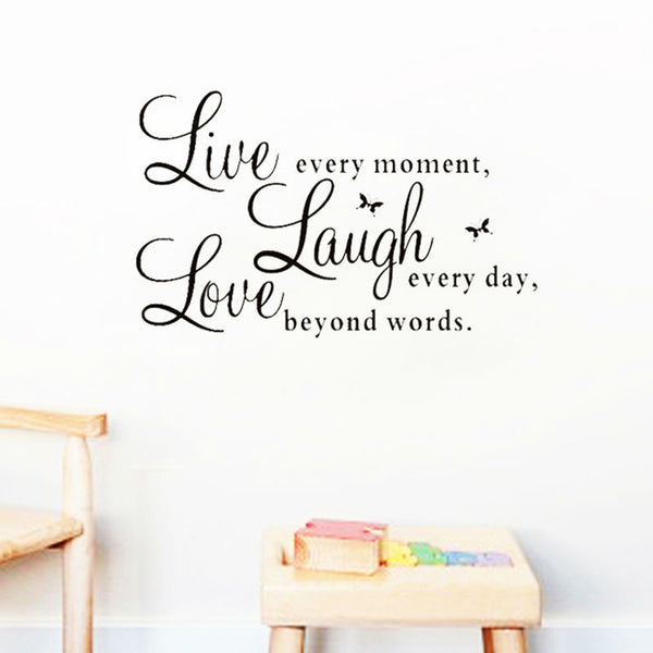 Decals live laugh love quotes wall home decorations adesivo de paredes removable-NicheCategory