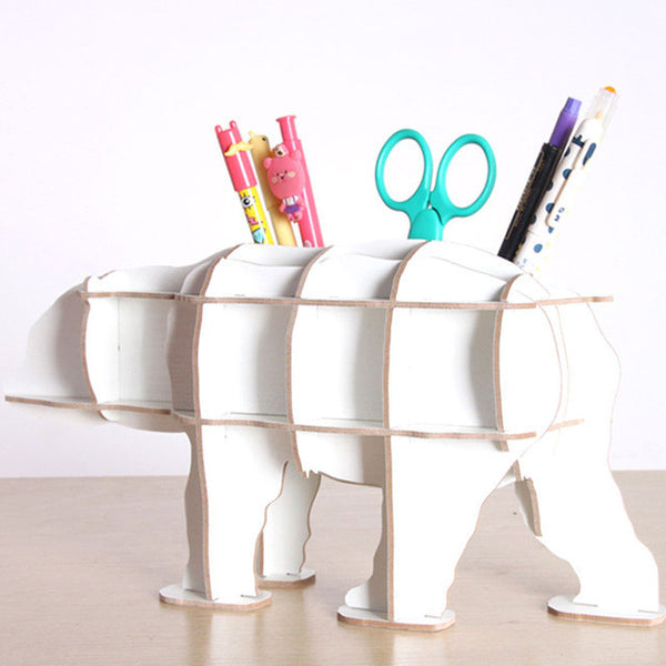 DIY Wooden Bear Model Home Creative Decoration Desktop Storage Pen Holder-NicheCategory