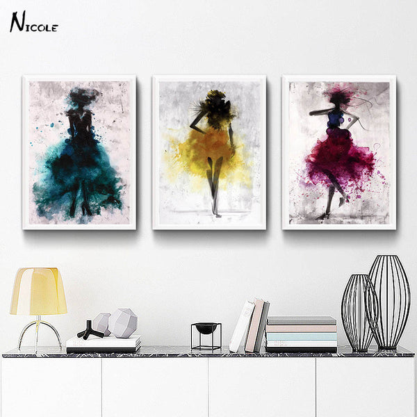 Fashion Girl Skirt Minimalist Art Canvas Print Abstract Modern Decor-NicheCategory
