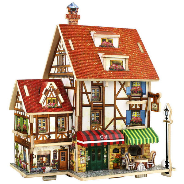 France French Style Coffee House 3D Wood Puzzle DIY Model Kids Toy Puzzle-NicheCategory