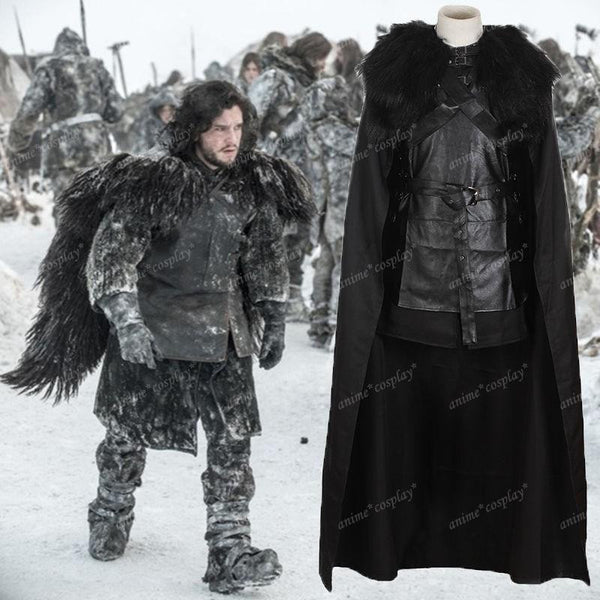 Game of Thrones Jon Snow Cosplay Costume Men's Outfit PU Tops + Cloak +Knit Skirt +Belt Halloween Party Black-Clothing-NicheCategory