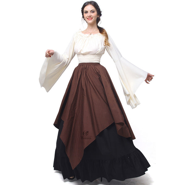 Gothic Chiffon Dresses Women Renaissance Medieval Dresses Party Masquerade Costumes-NicheCategory