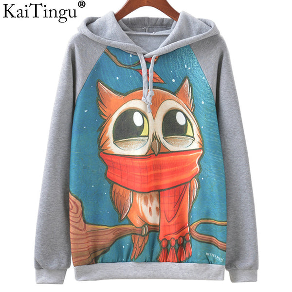 Harajuku Animal Print Hoodies Pullover Autumn Winter Women Sweatshirt-NicheCategory
