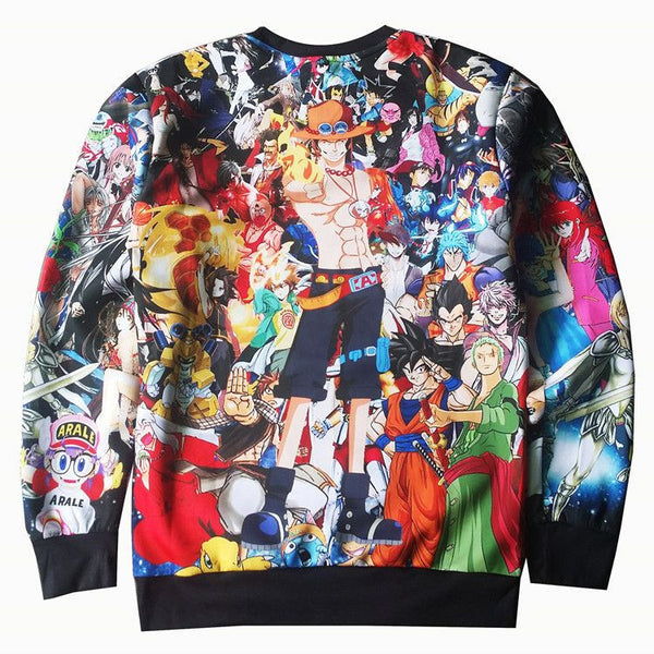 Harajuku Japanese Anime Pullovers One Piece Monkey D Luffy 3d Outerwear-Clothing-NicheCategory
