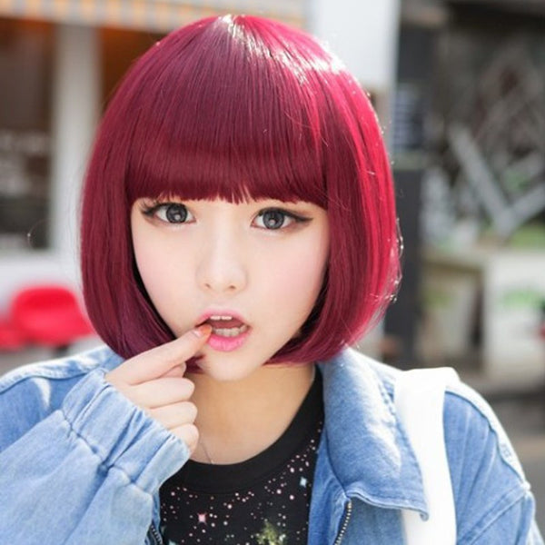 Heat Resistant Harajuku Cosplay Wig Short Straight Natural Synthetic Hair Blonde Wigs Women Pelucas Party Full Perucas-NicheCategory