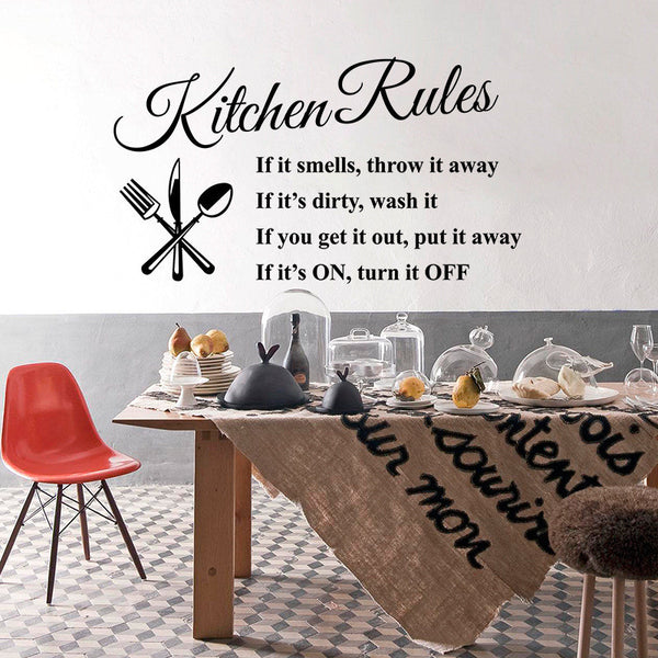 Kitchen Rules decal quotes Living Room Kitchen Vinyl Wall Stickers Room Letterin-NicheCategory