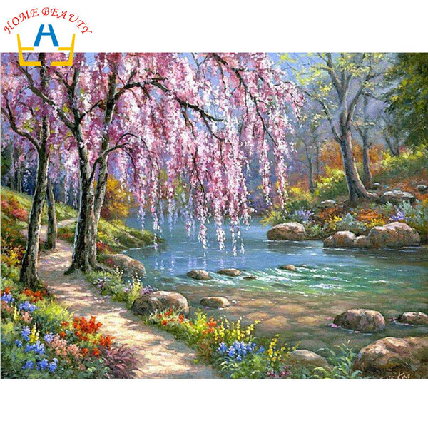 Landscape tree by stream oil paint painting by numbers diy coloring on canvas painting by hand wall paint J037-NicheCategory
