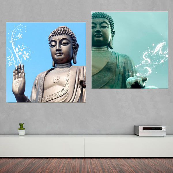 LED Flashing Optical Fiber Sitting Buddha Religion 2pcs Canvas Painting Blessing-NicheCategory