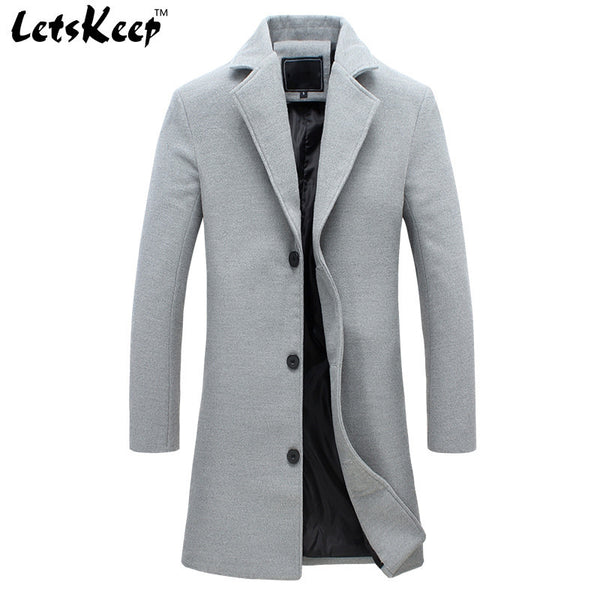 LETSKEEP winter wool long coat men warm business overcoat woolen jacket praka-NicheCategory