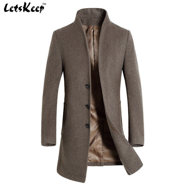 Letskeep Winter wool long peacoat men slim fit casual thick jacket-Clothing-NicheCategory