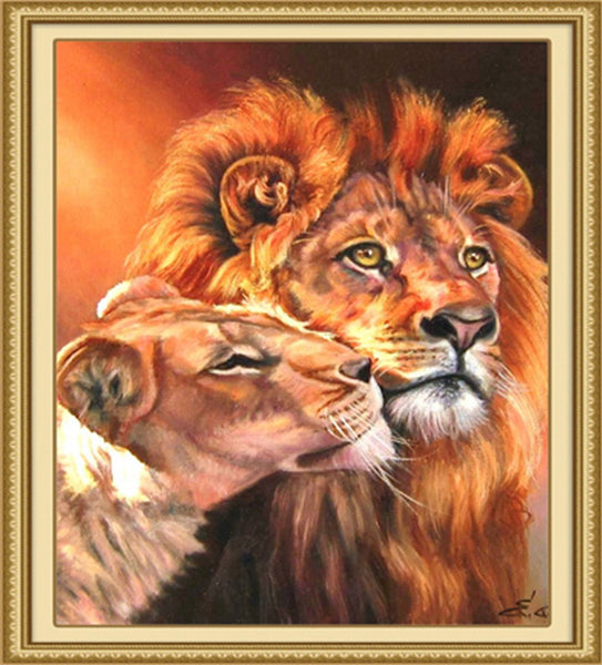 Lion couples DIY Painting By Numbers Hand Painted Decor-NicheCategory