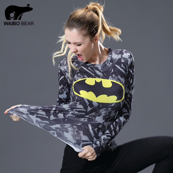 Marvel Women Compression T-shirt Printed Gentle Long Sleeve Ladies Fitness Tights-Clothing-NicheCategory