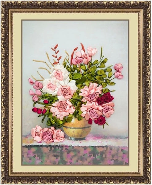 Pink roses DIY 3D cross stitch 26X20in flowers needlework embroidery kit-NicheCategory
