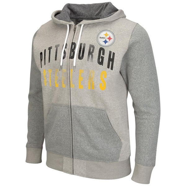 Pittsburgh Steelers NFL Grey Safety Full Zip Printed Hoodie-NicheCategory