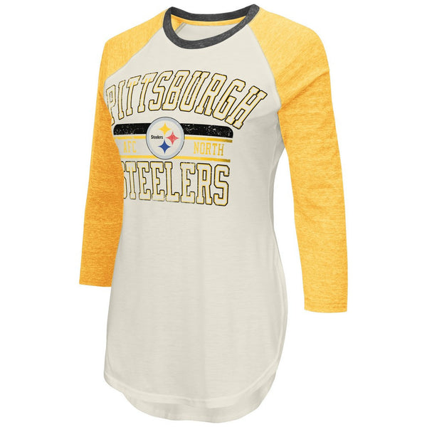 Pittsburgh Steelers NFL Women's Dual Blend 3 Quarter Raglan Sleeve TShirt-NicheCategory