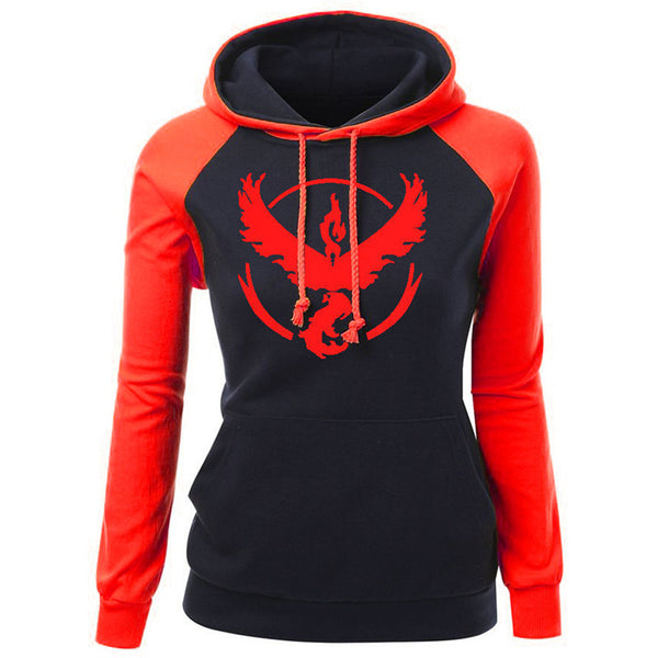 Pokemon Go Ash Ketchum Team Women Autumn Sweatshirts Valor / Mystic / Instinct Hoodie-NicheCategory