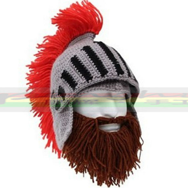 Red Tassel Cosplay Roman Knight Knit Helmet Men's Caps The Original Barbarian Ha-Clothing-NicheCategory