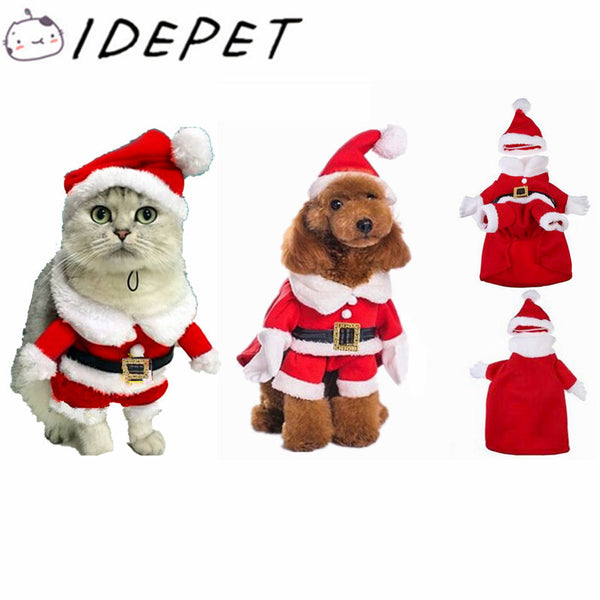 Santa Claus Dog Costume Pet Cat Coat Winter Cotton Clothing-NicheCategory