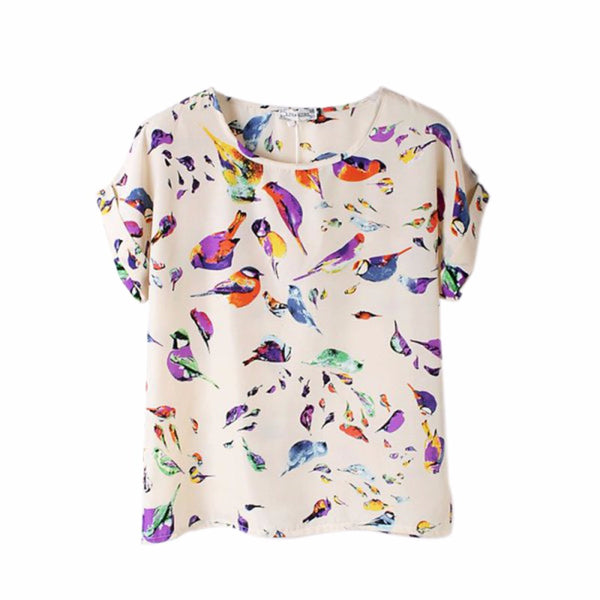 Summer Fashion O Neck Colorful Printed Women Short Sleeve T-Shirts Loose Chiffon-Clothing-NicheCategory