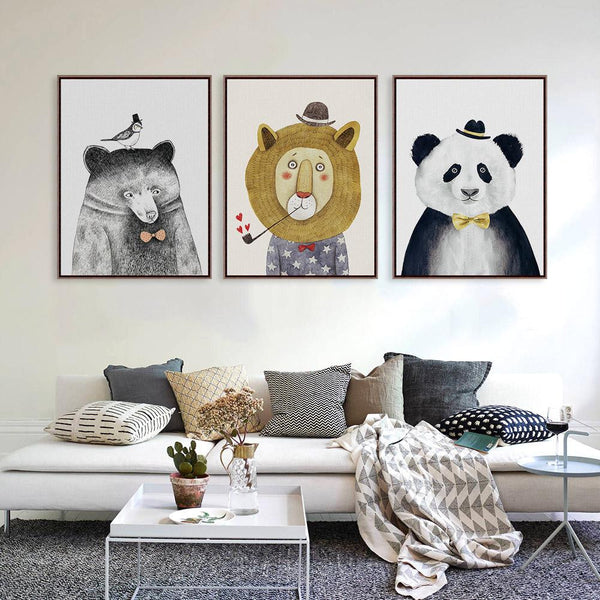 Triptych Watercolor Nordic Animal Lion Bear Panda A4 Art Prints Hipster Wall Canvas Home Decor-NicheCategory