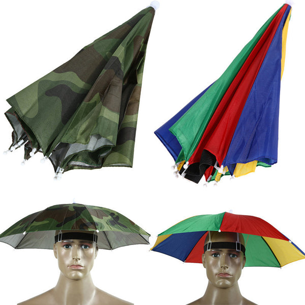 Umbrella Hat Portable 21in Usefull 2 Colors Sun Shade Camping Fishing Hiking Fes-NicheCategory