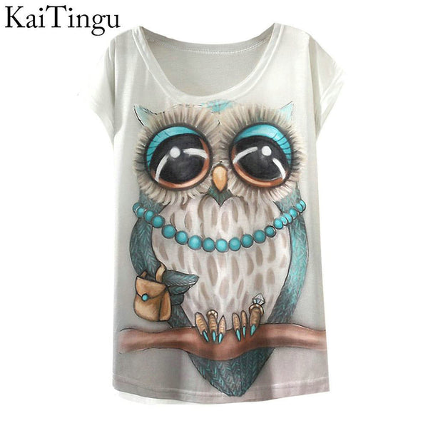 Vintage Spring Summer T Shirt Women Tops Animal Owl Printed White Woman Tees-NicheCategory