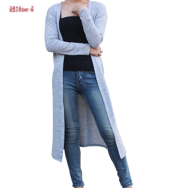 Women Cardigan Gray Black Red long Sweater casual Crochet Poncho Plus Size Coat-NicheCategory