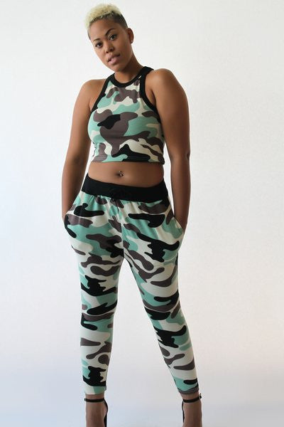 Army Fatigue Crop-Top Sweat Suit