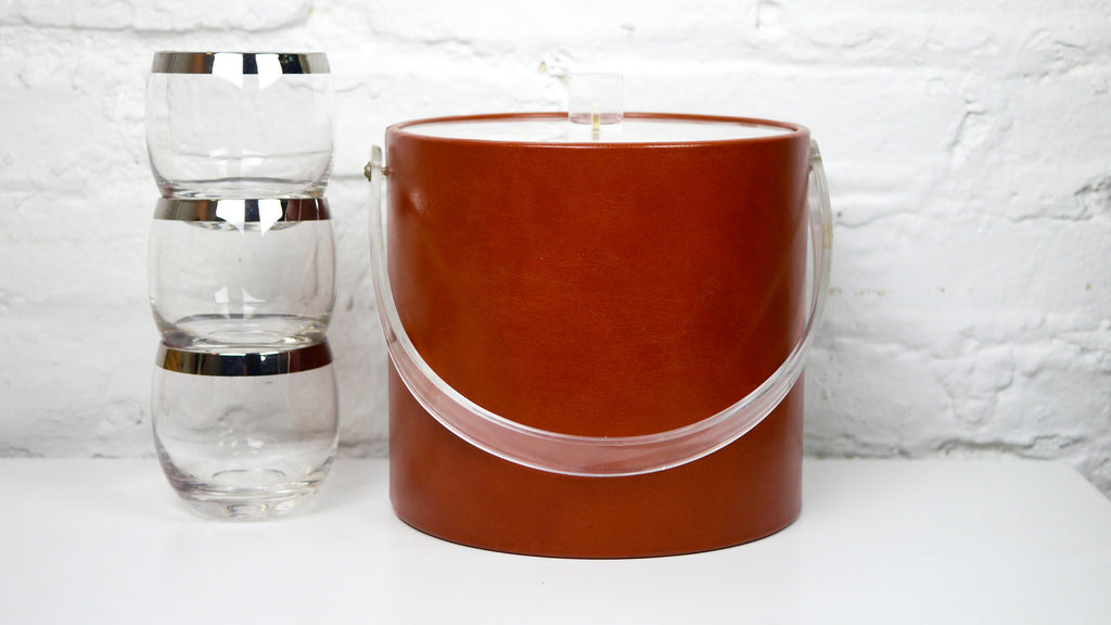 Georges Briard ice bucket faux leather lucite