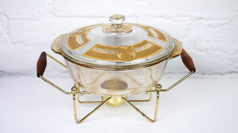 Vintage Mid Century Georges Briard Fire King Casserole Dish Gold Pear 2 quart with Stand