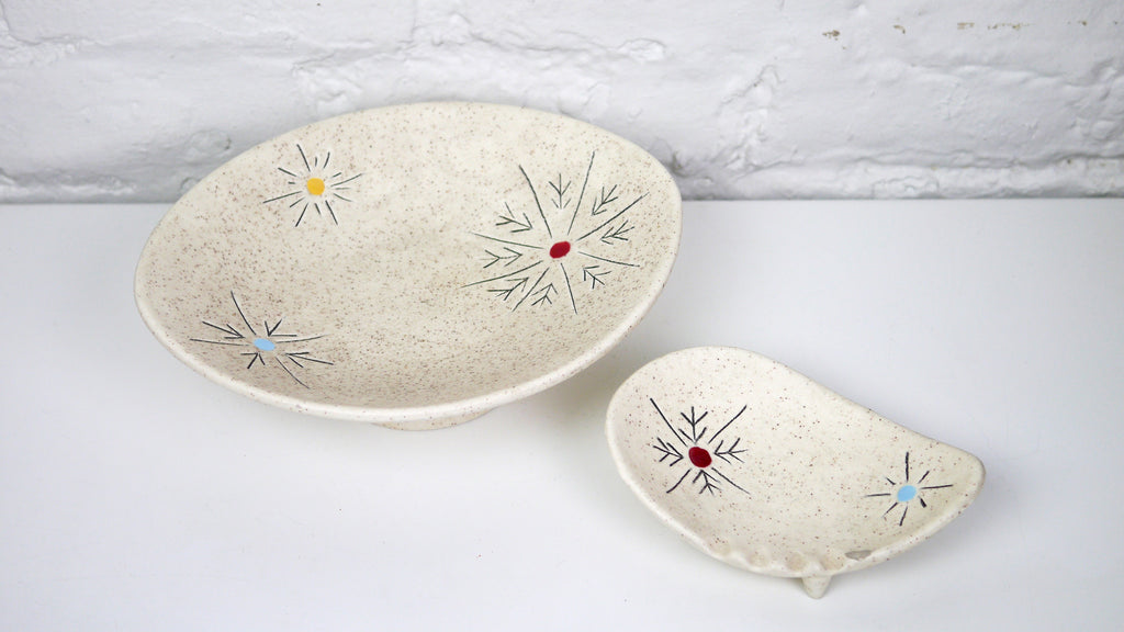 Cleminson's Snowflake Starburst Trinket Dish and Ashtray Atomic Mid Century California Pottery