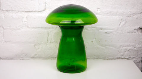 Vintage Mushroom Pitcher Green Glass